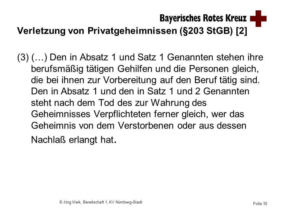 Verletzung von Privatgeheimnissen (§203 StGB) [2]